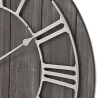 Antique Style Grey Brown Wooden Wall Clock with Metal Numerals (H18765) 68cm